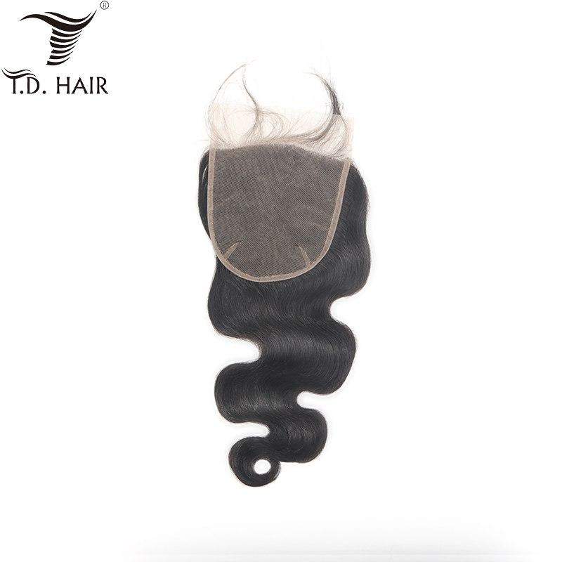 [해외] Brazilian Hair Weave Body Wave 6*6 Lace Closure tdhair Natural Color Human Hair Free Part Pre Plucked Bleached Knots Closure/ Brazilian Hair Weav