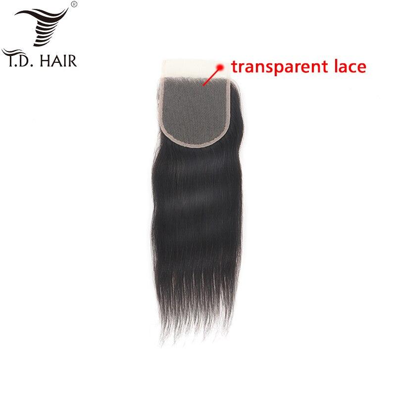 [해외]tdhair Straight Free Part Transparent 4*4 Lace Closure Unprocessed Virgin Human Hair for Women Swiss Lace Closure/tdhair Straight Free P
