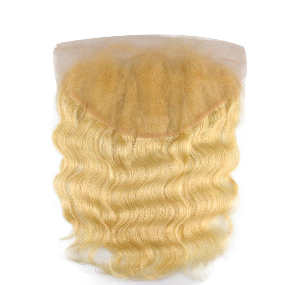 [해외]613 Lace Frontal 13x6 Ear To Ear Blonde Frontal Closure Human Hair Peruvian Remy Hair Free Part Body Wave Baby Hair Pre Plucked/613 Lace