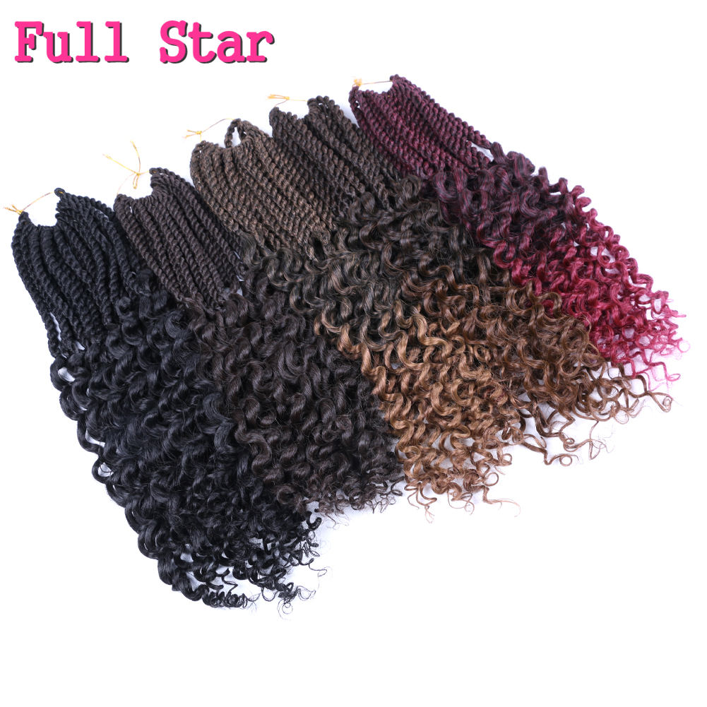 [해외]Full Star Ombre Senegalese Twist Crochet Braids Synthetic Braiding Hair Pre Looped Crochet Hair Extensions 18 for Black Women/Full Star