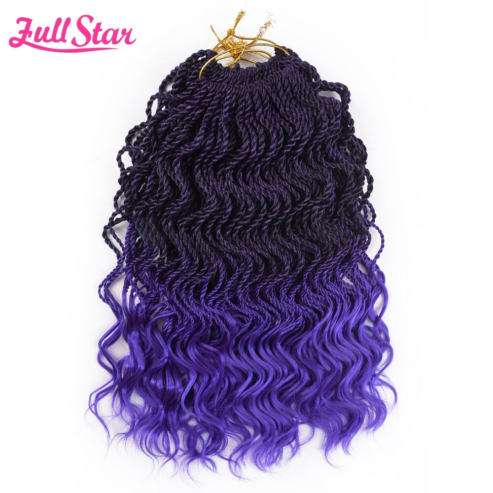 [해외]Full Star Ombre braiding hair Senegalese twist hair crochet braids synthetic crochet braid hair 14 35 strands /pack ends curly/Full Star