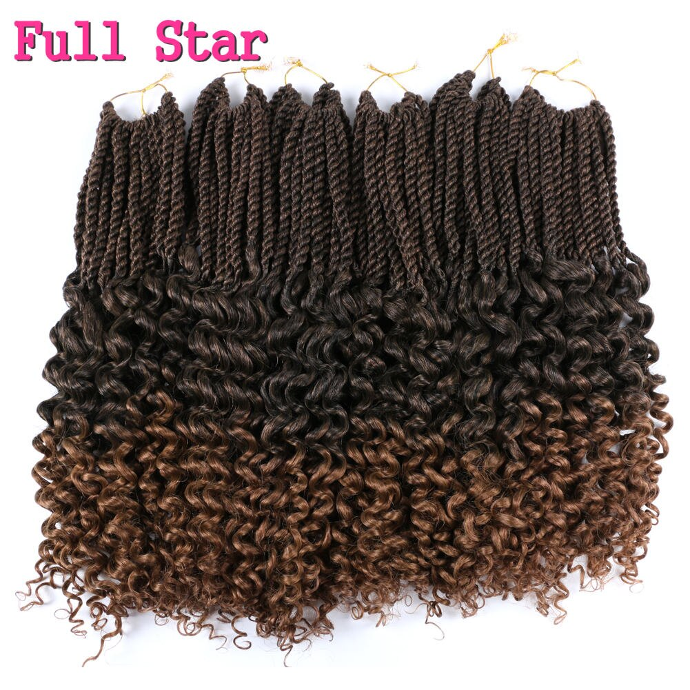 [해외]Full Star 18 Ombre Senegalese Twist Crochet Braidscurly ends Synthetic Braiding Hair Pre Looped Crochet Hair Extensions/Full Star 18 Omb