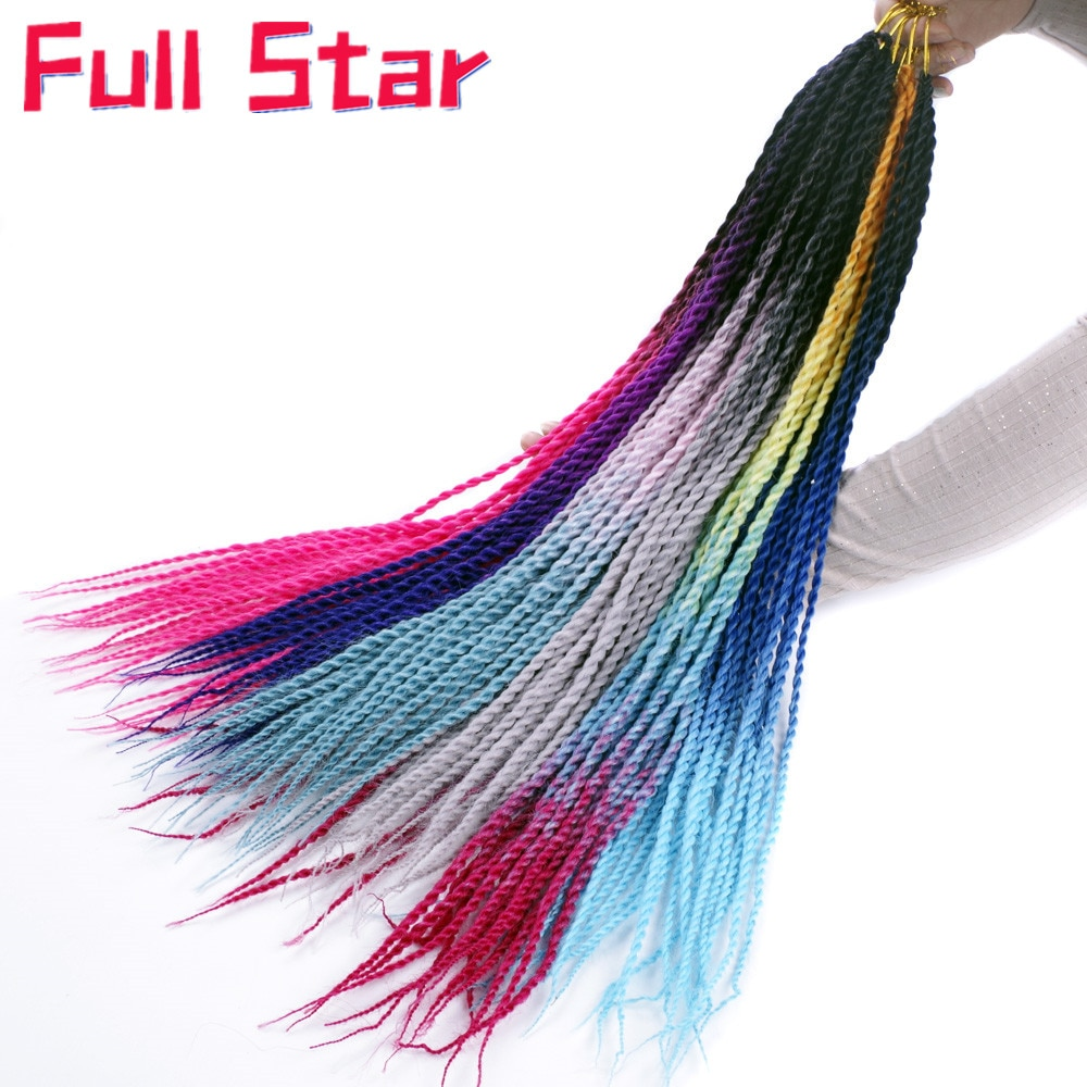 [해외]Full star Ombre Senegalese twist hair crochet Braids 24 inch 20 Roots/pack Synthetic Braiding Hair for Women grey,blue,pink,blue/Full st