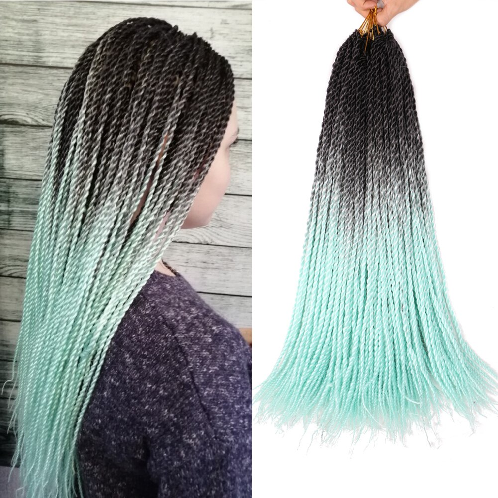 [해외]Mtmei Hair 20 Strands Ombre Braiding Hair Senegalese Twist Crochet Hair Extensions Synthetic Crochet Braids Rainbow color braids/Mtmei H