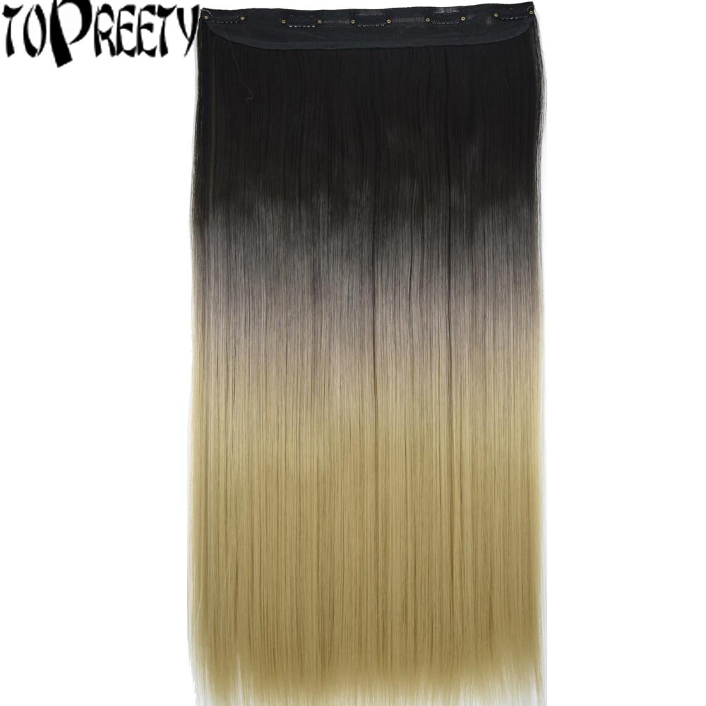 [해외]TOPREETY Heat Resistant Synthetic Hair  Ombre Colors Straight 5 Clips on clip in Hair Extensions/TOPREETY Heat Resistant Synthetic Hair