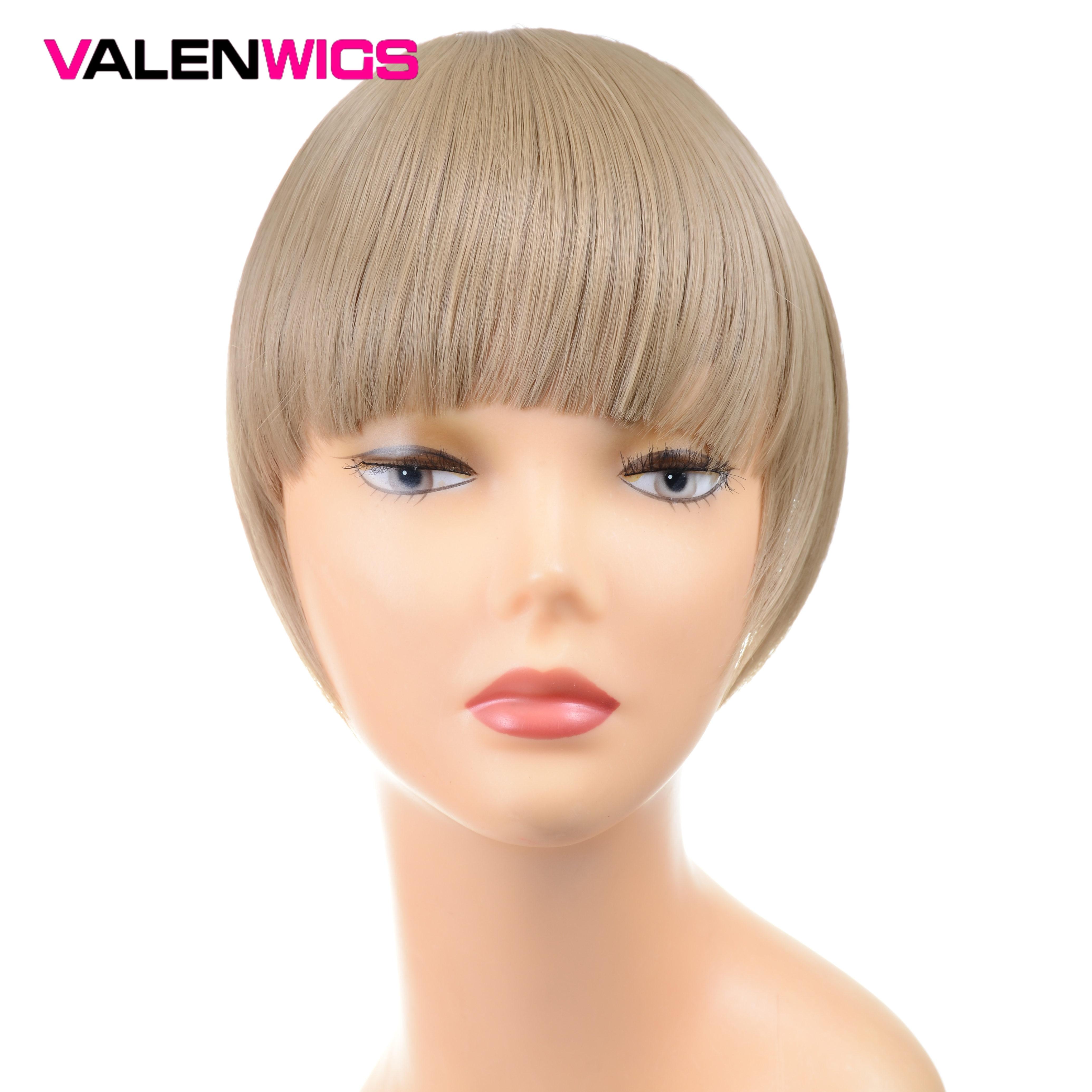 [해외]ValentWigs 6\u201c False Fringe Hair Clip in Bangs One Piece Staight Synthetic Hair Extensions Front Neat Bangs Pure Color For Women/ValentWi
