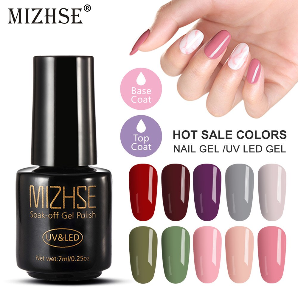 [해외]MIZHSE Gel Polish UV Vernis Semi Permanent Primer Top Coat Set  7ml Led Nail Gel Lacquer Pure Colors Hybrid Nail Polish Set/MIZHSE Gel Polish UV V