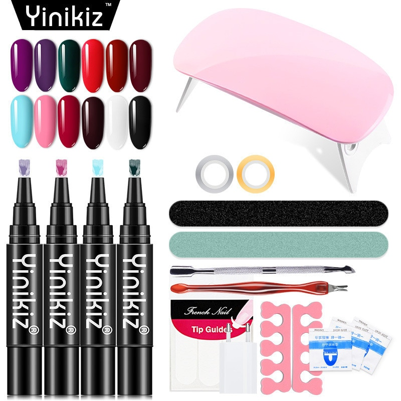 [해외]Dropship 2019 12pcs/set Nail Art Tool Set 6w Mini Nail Lamp One Step Gel Pen French Nail Sticker Nail File Dead Skin Fork/Dropship 2019 12pcs/set