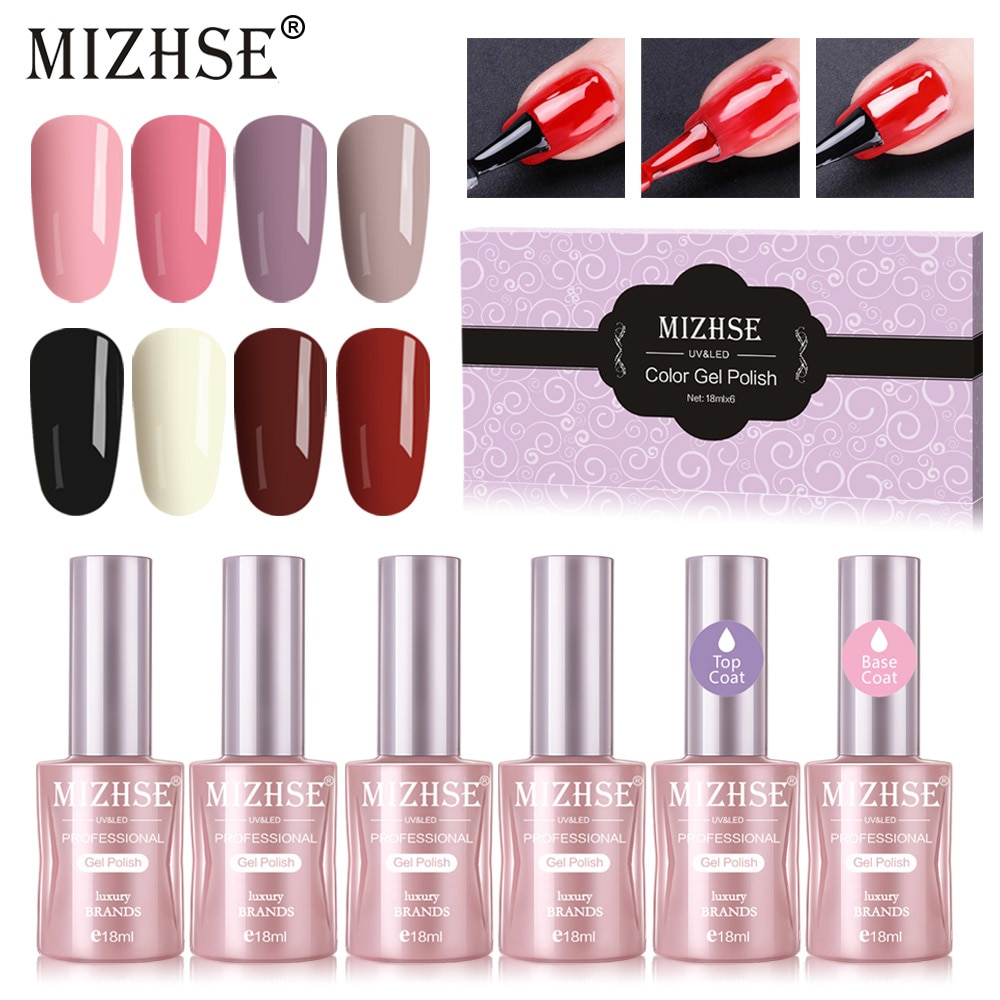 [해외]MIZHSE 18ML Gel Nail Polish Permanent UV and LED Enamels Gel Polish UV Gel Nail Polish Lacquer Varnish Set For DIY Manicuret/MIZHSE 18ML Gel Nail