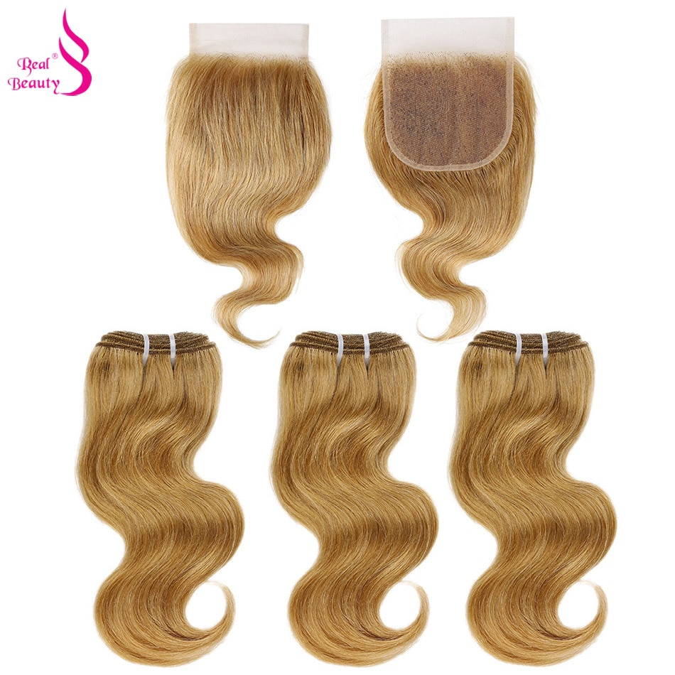 Real Beauty 3 Bundles Brazilian Body Wave Hair Weave With Lace Closure Black Honey Blonde Remy Human Hair With Closure 50G