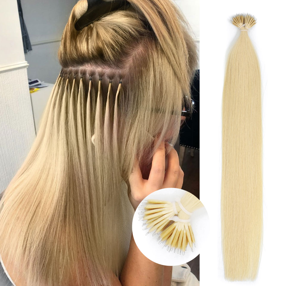 Isheeny 14-22 Micro Ring Remy Human Hair Extensions Straight Blonde European Nano Beads Hair Extension Pre Bonding 50pcs