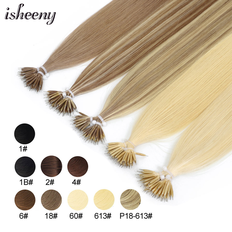 Isheeny 14 Remy Micro Beads Hair Extensions In Nano Ring Links Human Hair Straight  9 Colors Blonde European Hair 50s 100s 200s