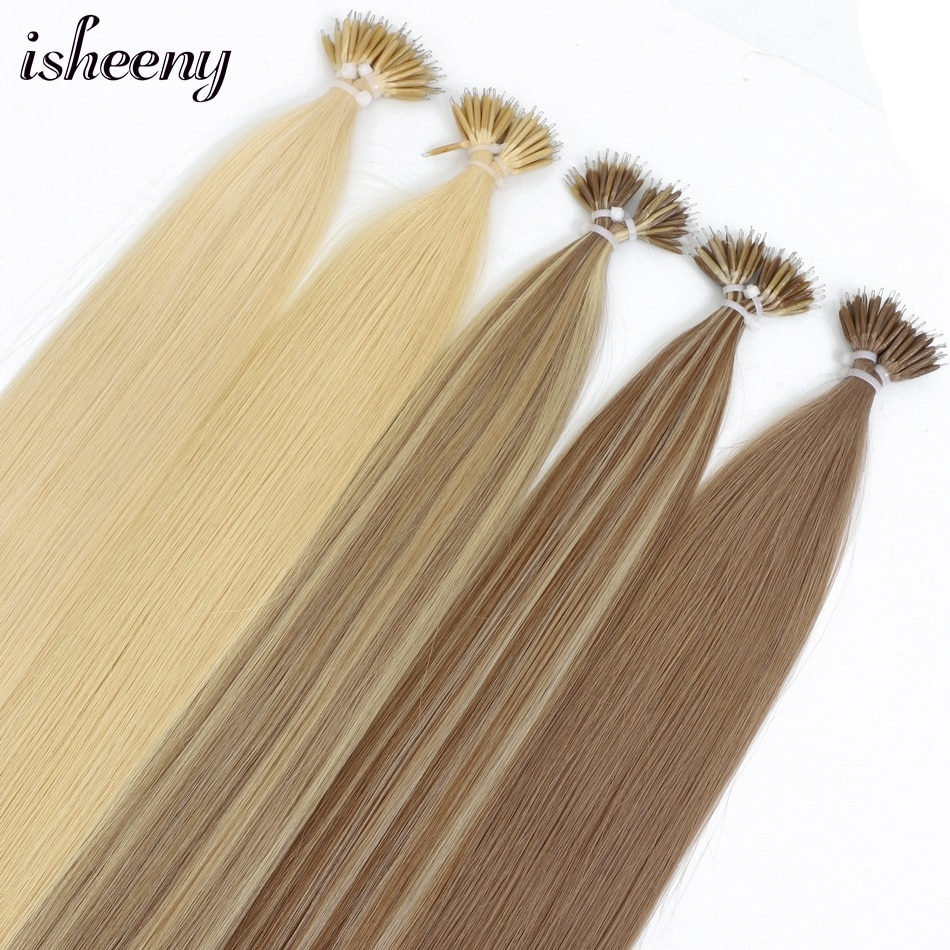 Isheeny 18 Nano Ring Hair Extensions Blonde Premium Remy Micro Beads Link Hair 50s 100s 200s Brown European Hair On Tips