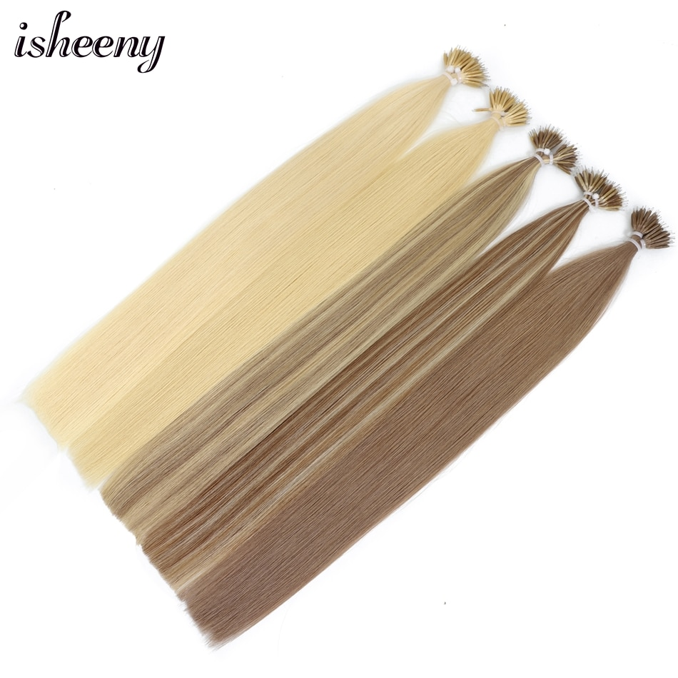 Isheeny 22 Black Nano Beads Human Hair Extensions Blonde Micro Ring Hair On Tip 50s 100s European Remy Salon Quality