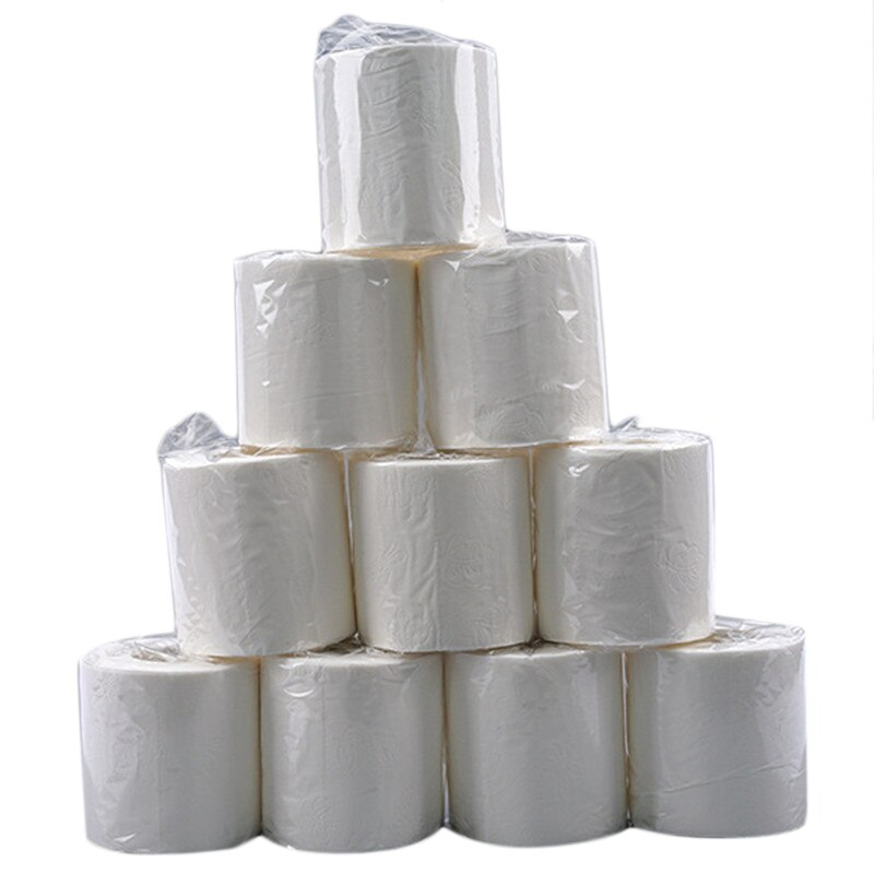 Wood Pulp Paper10pcs 3 Layers Roll Paper Toilet Paper Bathroom Toilet Kitchen Paper Tissue Cleaning Paper