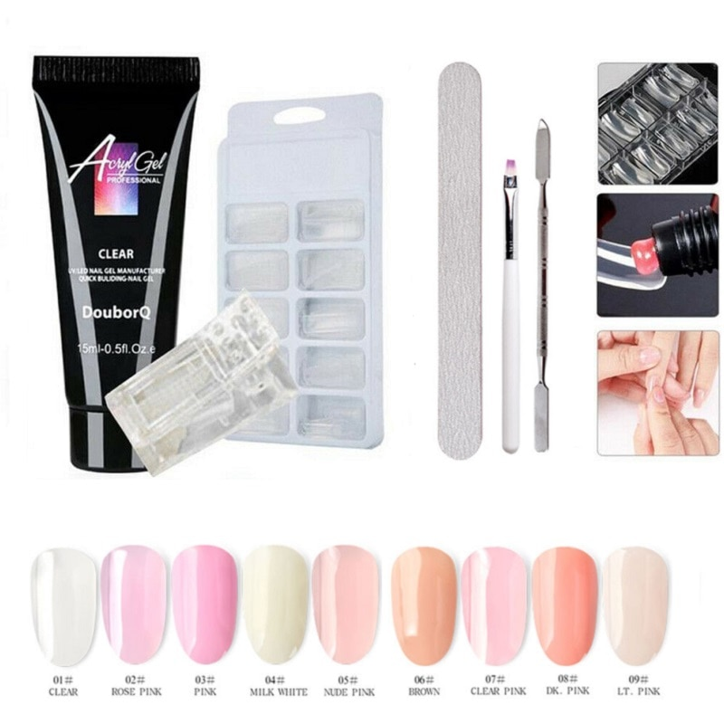 6Pcs Poly Gel Kit UV Acryl Builder Polygel Fast Dry Nail Extension Art Tool 9 Colors Poly Gel Lacquer Manicure