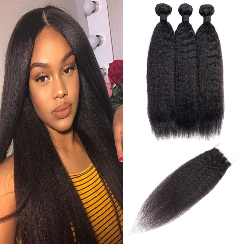 WigeniusKinky Straight Bundles With Closure 페루 인간의 머리카락 3 묶음 Remy Hair Closure With Bundles Extension