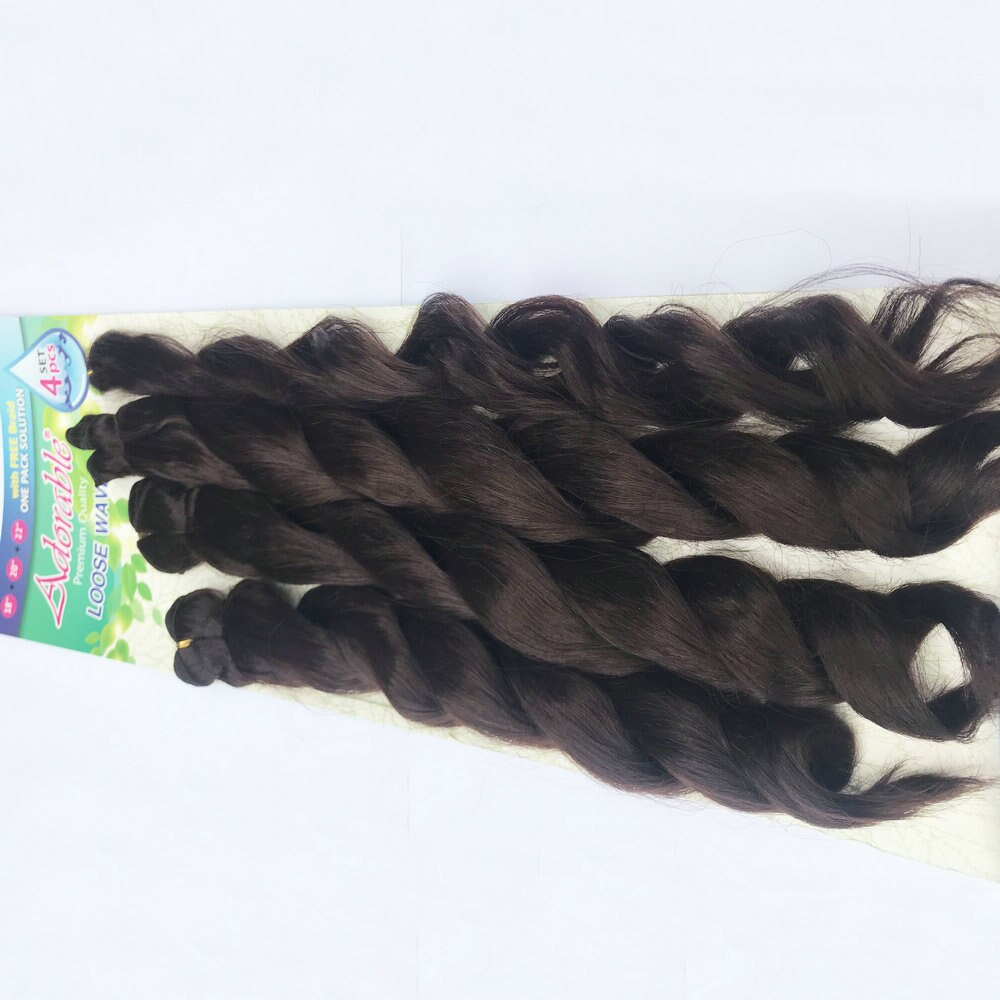 사랑 스럽다 합성 헤어 익스텐션 위브 번들 Brade/ LOOSE WAVE 4PCS + 1 Set /18-22inch Natural Color African American Afro
