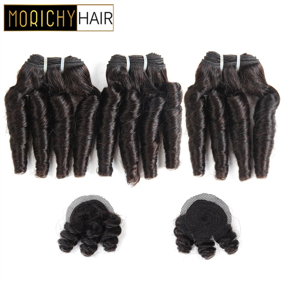 Morichy Hair Bouncy Curly Bundles With Crown Closure Brazilian Double Drawn Short-cut Weft  Non-Remy Black Human Hair For Women
