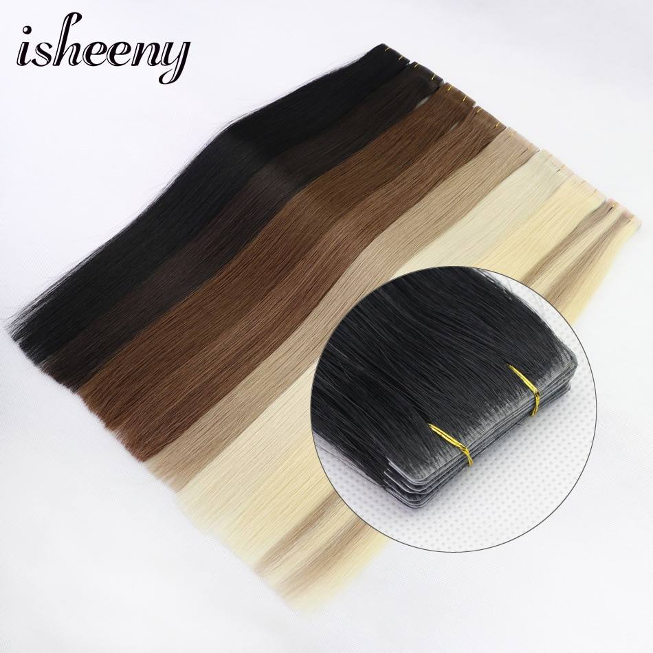 Isheeny Straight PU Skin Weft Hand Tied Tape In Adhesives Remy Human Hair Extensions 18 2g/pc 40g/pack Seamless Skin Weft Hair